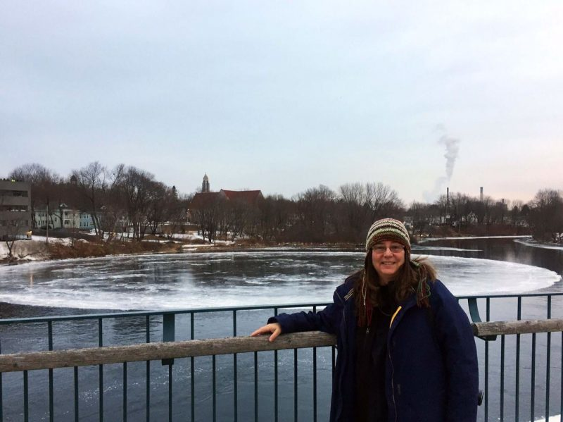 Patricia Evans caught this selfie with the giant ice circle spinning in the Presumpscot River in Westbrook, Maine, on January 18, 2019. Thank you, Patty.