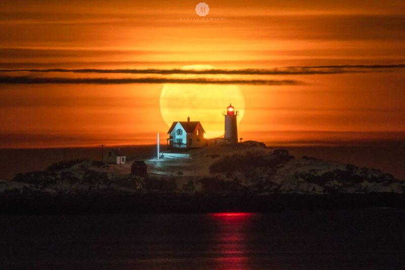 The moon - just past full - rises over the Nubble Lighthouse in coastal York, Maine on January 22, 2019. Photo by Manish Mamtani. Thank you, Manish.