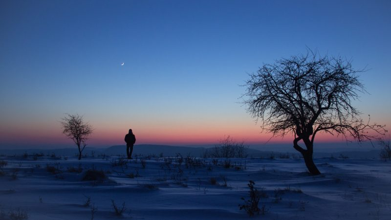 This peaceful image of a snowy landscape and young moon is by Radu Anghel of Bacau, Romania. He caught it in early January, 2019. Thank you, Radu!