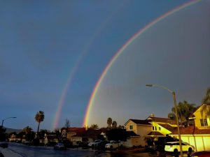 Tom Marsala caught this double rainbow from Menifee, California on January 31, 2019. Thank you, Tom.