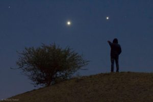 The Jupiter-Venus conjunction was January 22, 2019. Photo by Nikunj Rawal in Jamnagar, India. Thanks, Nikunj!