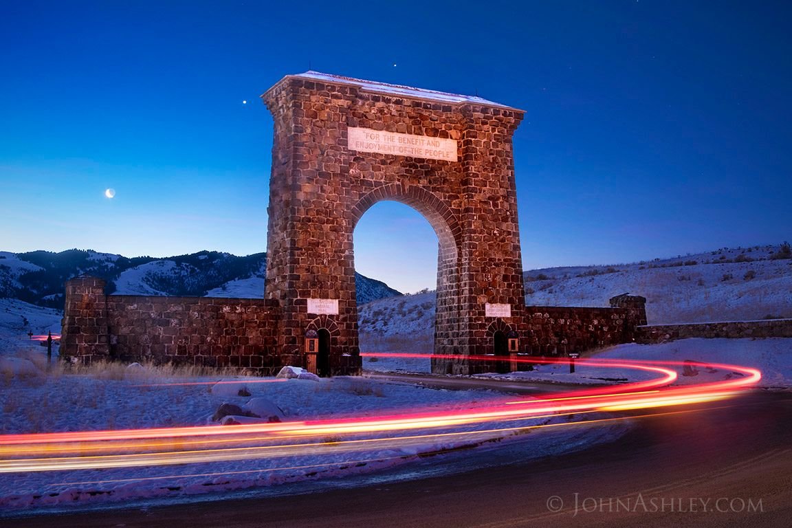 John Ashley caught this image on February 2, 2019. It's the moon, Venus and Jupiter over the Roosevelt Arch in Yellowstone National Park. Thank you, John.