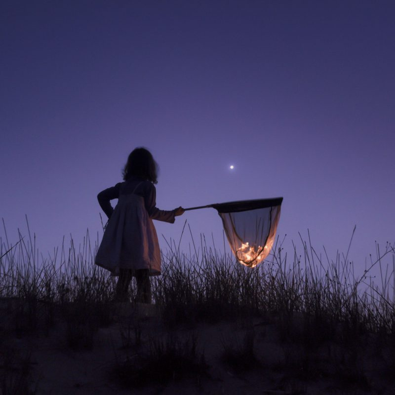 A little girl on a dark night, holding a big net that appears to be filled with stars.